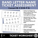 Beginning Band Letter Note Name Ticket Assessments - Concert Bb, First 6 Notes