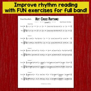 "Middle School Band Music: Fundamentals for Band ""Hot Cross Rhythms"""
