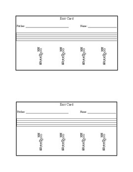 Beginning Band Notation Exit Cards