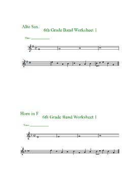 Beginning Band Pitch Identification Worksheets--instrument specific