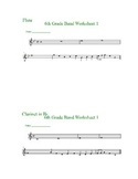 Beginning Band Pitch Identification Worksheets--instrument