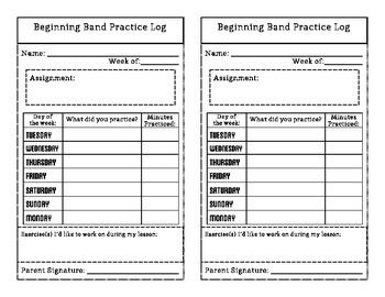Beginning Band Practice Log