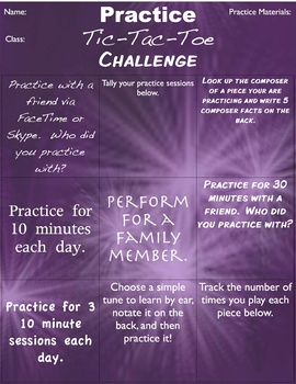 Beginning Band Tic-Tac-Toe Practice Challenges