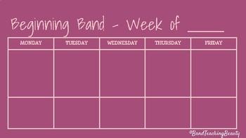 Beginning Band Weekly Plan