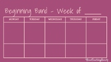 Beginning Band Weekly Plan