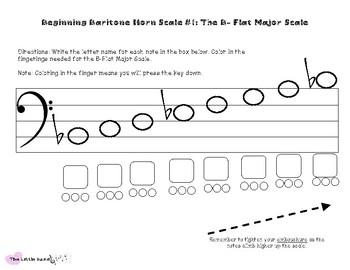 Beginning Baritone Horn - The B-Flat Major Scale Worksheet