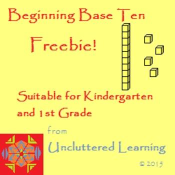 Freebie! Beginning Base Ten Math from Uncluttered Learning