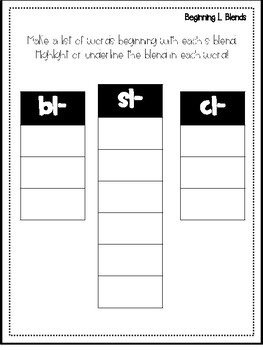 Beginning Blend Poems and Activities (l blends, s blends, r blends)