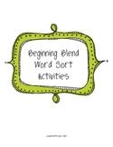 Beginning Blend Word Sort Activities