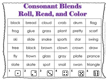 Beginning Blend and Digraph-Read, Roll, Color