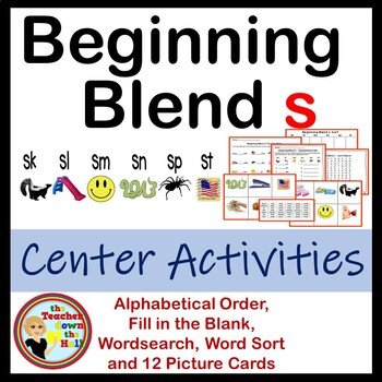 Beginning Blend s - Center Activities (word sort, picture cards, & more)