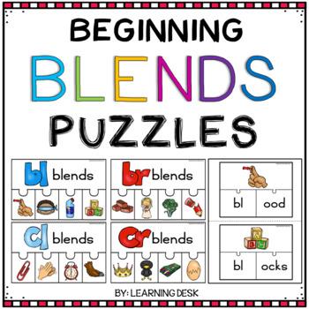 Beginning Blends Activity-L R S Blend Activity-Blend Puzzles
