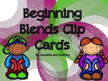 FREE!!! Beginning Blends Clip Cards