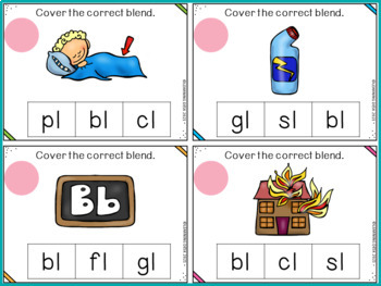 Beginning Blends Activity-L R S Blend Activity Center (Clip Cards)