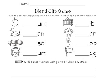 Beginning Blends Clip Game