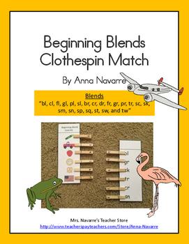 Beginning Blends Clothespin Match