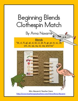 Beginning Blends Clothespin Match