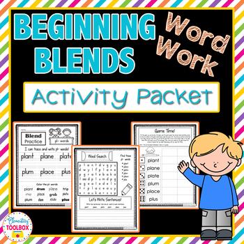Beginning Blends Word Work Activity Packet-NO PREP