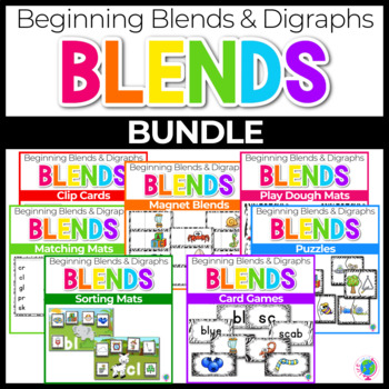 Beginning Blends & Digraphs Center Activities for Phonemic