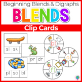 Beginning Blends & Digraphs Clip Cards Phonemic Awareness