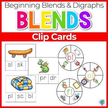 Beginning Blends & Digraphs Clip Cards Phonemic Awareness