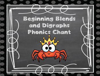 Beginning Blends & Digraphs Phonics Chant & Literacy Center Activity