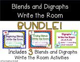 Beginning Blends, Ending Blends, & Digraphs Write the Room Bundle