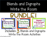 Beginning Blends, Ending Blends, & Digraphs Write the Room Bundle