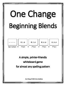 "Beginning Consonant Blends- ""One Change"" Whiteboard Game"