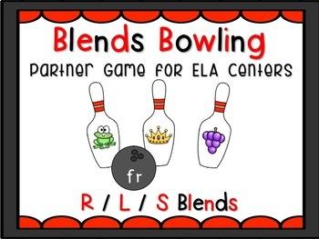 Beginning Consonant Blends Matching ELA / Literacy Centers Bowling Theme