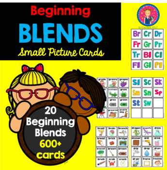 Blends Picture Cards for Small Pocket Charts