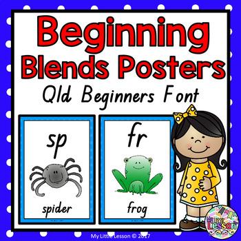 Beginning Blends Posters QLD Beginners Font