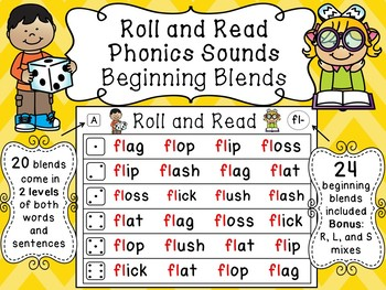 Beginning Blends Roll and Read Reading Fluency Centers