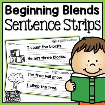 Beginning Blends Simple Sentence Practice Strips