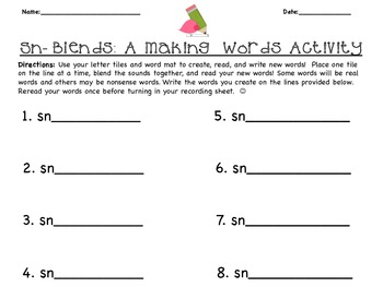 Beginning Blends Sorts and Making Words Activities: Sm, Sk, Sw, Sn, St, Sl