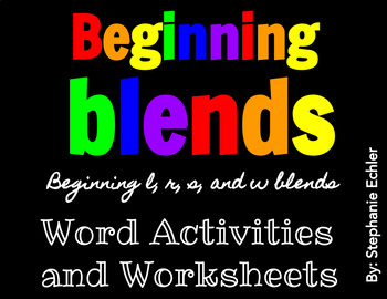 Beginning Blends Word Activities and Worksheets