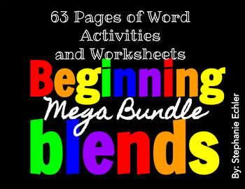 Beginning Blends Word Activities and Worksheets Mega Bundle