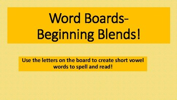 Beginning Blends Magic Word Board sqaures- Multisensory Orton Gillingham