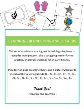 Beginning Blends Word Sort Cards