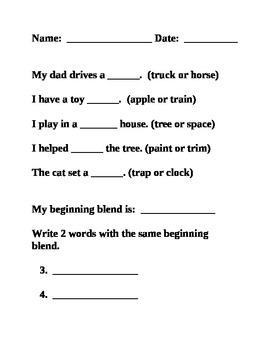 Beginning Blends Worksheets