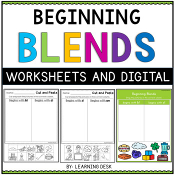 Beginning Blends Worksheets (Cut and Paste)