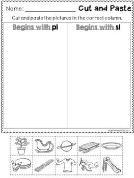 beginning blends worksheets l r s blend cut and paste by learning desk. Black Bedroom Furniture Sets. Home Design Ideas