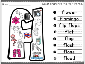 Beginning Blends Worksheets-L R S Blend Worksheets(Find and Write)