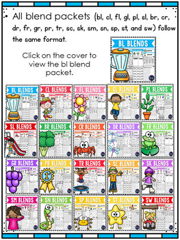 Beginning Consonant Blends Worksheets - L, R, and S Blends Activities