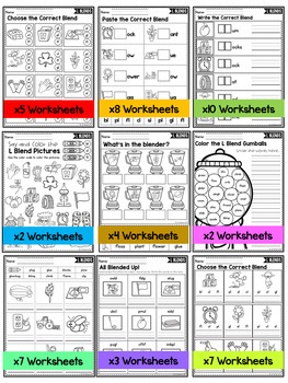 Beginning Blends Worksheets (L, R and S Blends Review)
