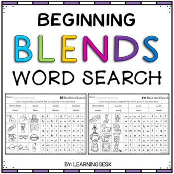 Beginning Blends Worksheets - L, R, and S Blends Worksheets