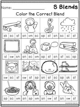 Beginning Blends Worksheets   S Blends Worksheets by ...