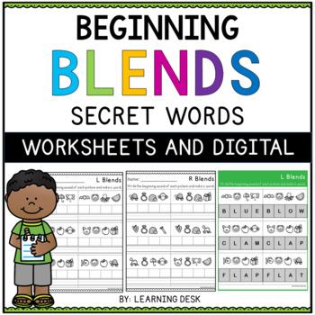 Beginning Blends Worksheets-L R S Blend Worksheets (Secret Words)