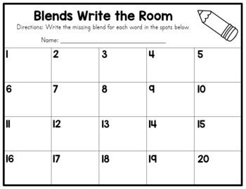Beginning Blends - Write the Room Activity
