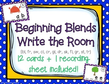 Beginning (Initial) Blends Write the Room / Center Activity
